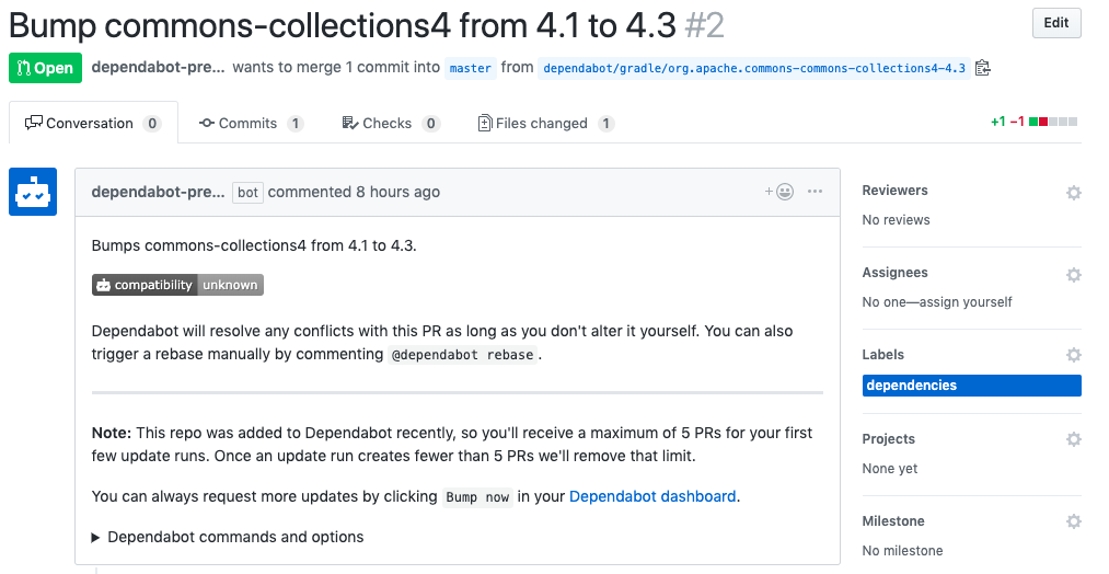 A pull request for an outdated dependency created by the GitHub app Dependabot.