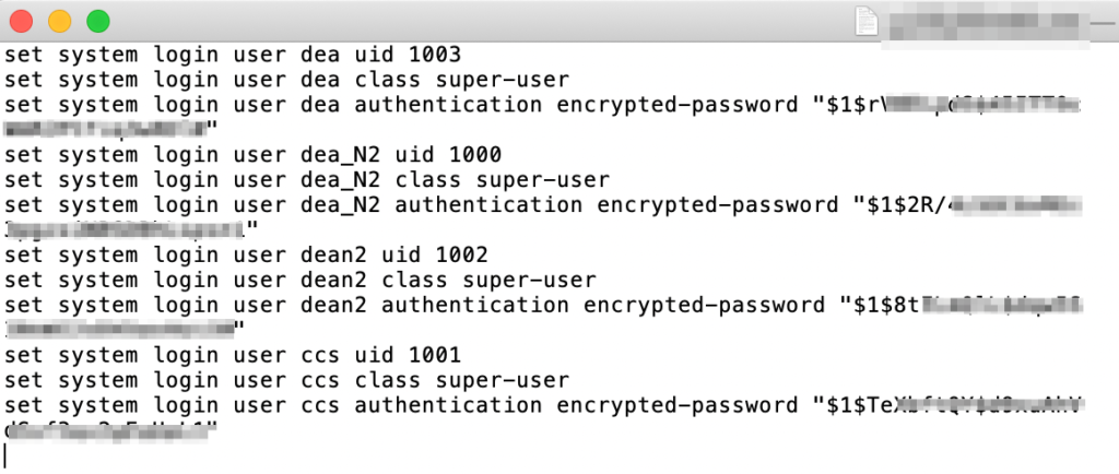 A txt file that contains password hashes of some login credentials.