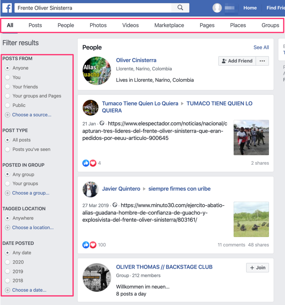 We used the Facebook keyword search to get more information on Frente Oliver Sinisterra being a FARC dissident group in Colombia. You can use the additional filters to refine your returned results.