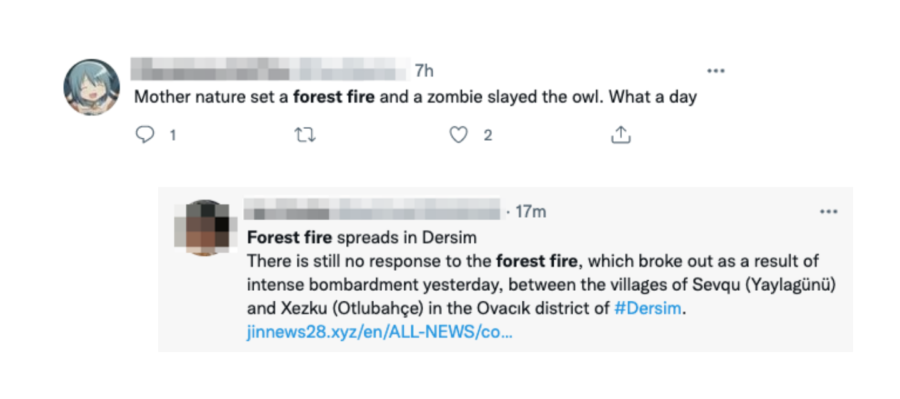 Tweets containing the keyword forest fire.